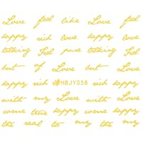 ネイルシール アルファベット 文字 ブラック/ホワイト/ゴールド/シルバー 選べる80種 (ゴールドGP, 20)