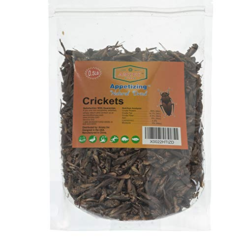 Appetizing Mealworms  Natural Dried Crickets - Food for Bearded Dragons, Wild Birds, Chicken, Fish, and Reptiles - (8 oz Resealable Bag) - Veterinary Certified