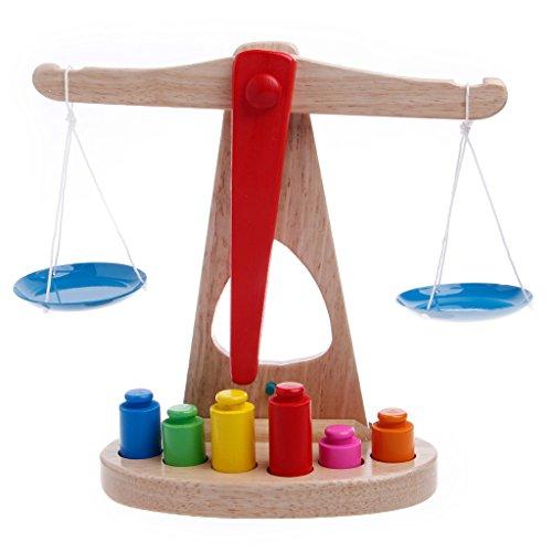 Lamdoo Montessori Lern-Waage für Babys, lustiges Gleichgewichts-Spiel aus Holz
