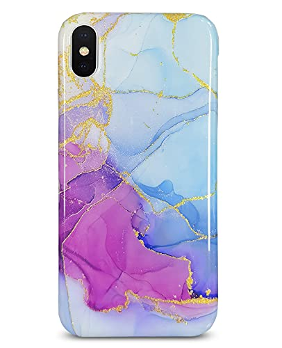 J.west iPhone X Case/iPhone Xs 5.8-inch Gold Glitter Sparkle Marble Design Abstract Pattern Slim Bumper TPU Soft Rubber Silicone Cover Protective Phone Case for iPhone Xs/iPhone X Purple Blue