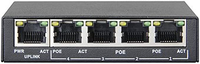 PS504 - Mini Switch PoE (Power over Ethernet), 5 puertas (4 puertas PoE), 802.3af, 48 V, 60 W