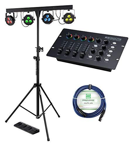 Showlite LB-427 LED RGB Komplett-Lichtanlage - vier PAR-Spots mit je 3 St. 9W LEDs - steuerbar via DMX 512, Wireless-Fußpedal oder manuell, inkl. DMX-Controller, Stativ, Fußfernsteuerung und Tasche