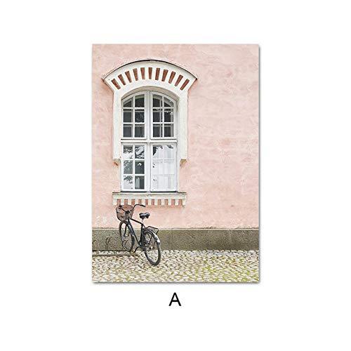 LiMengQi Nordisches dekoratives Bild mit altem Hausfahrrad-Leinwanddruck mit ländlichem Landschaftsplakat der rosa arabischen Architektur (kein Rahmen)