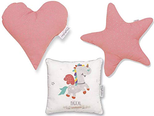 Pirulos 79113219 - Cojín formas diseño unicornio, 132 19, color blanco y fresa