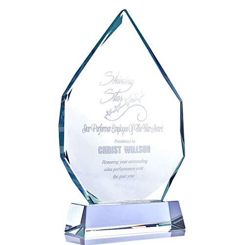 Desconocido H&D - Trofeo de Cristal Transparente con Placa de Grabado Personalizable