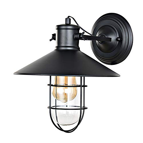 KARMIQI Black Farmhouse Wall Sconce Lighting, Industrial Rustic Wall Lamp with Cage Glass Shade, Adjustable Indoor Vintage Antique Wall Light for Barn Hallway Entryway Restaurant