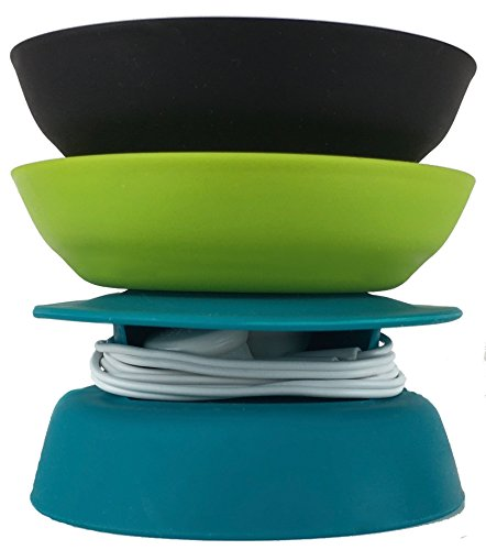 Budley - Tangle-Free Earphone/Earbud Case, Compact Storage System, Silicone (Teal/Lime/Black, Set of 3)
