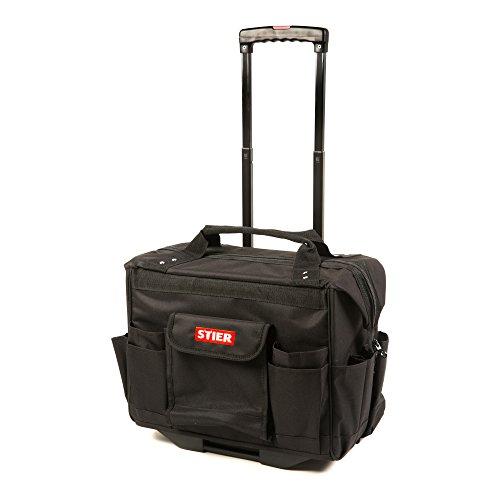 STIER Werkzeugtrolley Premium+, leer und unbestückt, schwarzer Werkzeugkoffer, reißfestes Polyester, 19 Fächer, leichtgängige Rollen