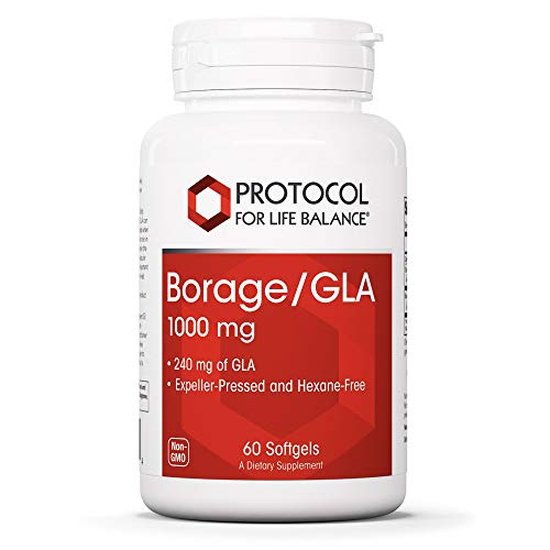 Protocol For Life Balance - Borage/GLA 1,000 mg - Rich in Omega-6 Fatty Acids - Helps Reduce Inflammation, Supports Healthy Immune System, Joint Function, Hormonal Imbalances - 60 Softgels