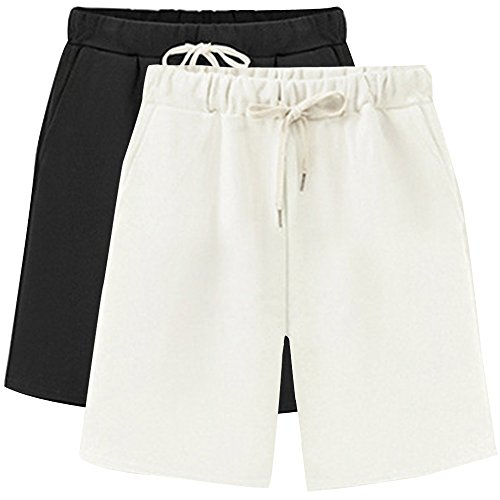 Gooket Women's Elastic Waist Soft Knit Jersey Bermuda Shorts with Drawstring 2 Pack Black White Tag 5XL-US 18