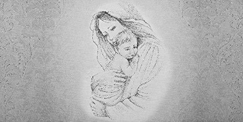 OGGETTANDO Cuadro Maternidad/Damasco impresión sobre lienzo con decoración a mano para salón, dormitorio, cocina, oficina, bar, restaurante, regalo útil, original y económico (plateado, 50_x_100_cm)
