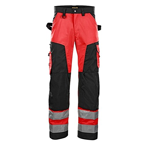 Blakläder 156618115599D124 High Visibility Trousers Without Nail Pockets Size D124 in red/Black
