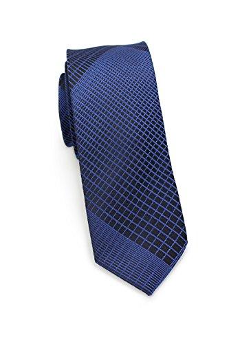 PUCCINI schmale Krawatte│6cm skinny slim Tie, Binder, Schlips│einfarbiges modernes, trendiges Muster in Blau (Royalblau)