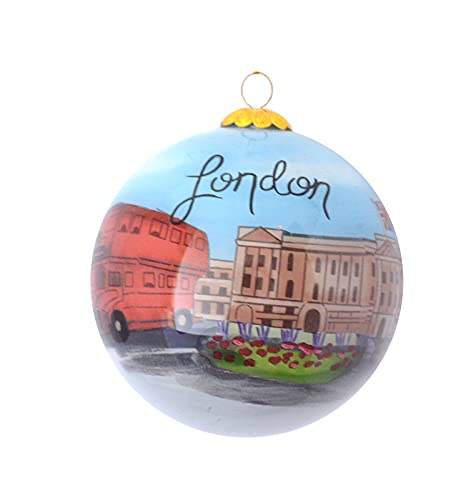 Hand Painted Glass Christmas Ornament - London