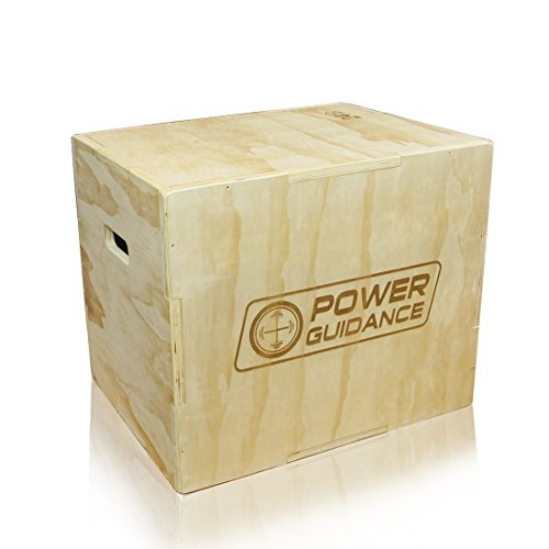 POWER GUIDANCE 3 in 1 Wood & Soft Plyometric Jump Box, Plyo Box for Jump Training and Conditioning - 30/24/20, 24/20/18, 16/14/12
