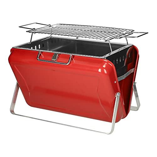Faltbarer Aluminium Koffergrill mit Tragegriff   Mobiler Grill für Camping mit Standfüßen   Holzkohle Reisegrill für 2 - 4 Personen 40 x 27 x 24 cm (Rot)