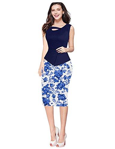 Jueshanzj Damen Ärmellos Vintage-Ausschnitt Kontrast Blumenabend Pencilkleid Etuikleid Business Kleid Dunkel blau+Blau Blumen XXL