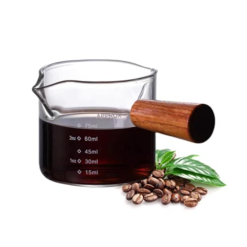 3 oz Espresso Measuring Cup Shot Glasses Measuring Triple Pitcher Double Spouts Glass Creamer Measure Cup for Barista Coffee Carafe Sauce Milk Bar Party Wine Cocktail , 75ML