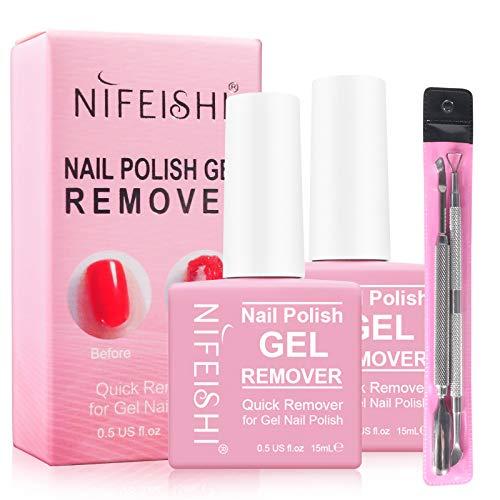 Gel Nail Polish Remover, (2PCS) Magic Nail Polish Remover, Professional Removes Soak-Off Gel Nail Polish and UV Art Nail Lacquer, Don't Hurt Your Nails - 15Ml