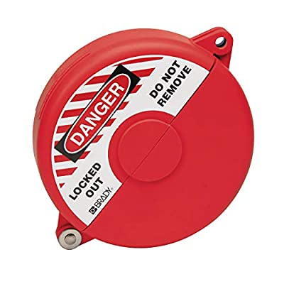 "Brady Hinged Gate Valve Lockout, Red, for 5"" - 6-1/2"" Valve Handle Diameters from Brady"
