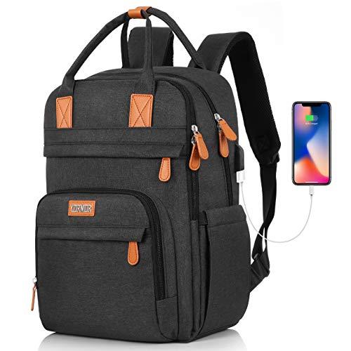 Rucksack Damen Schulrucksack, für 15.6 Zoll Laptop Rucksack Arbeit Wasserdicht Business Daypacks Mädchen Teenager mit USB Ladeanschluss, Oxford, 20-40L
