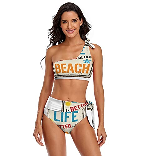 Damen One Shoulder Bikini Sexy Hohe Taille Bademode Life is Better at The Beach Vintage Rusty Metallschild auf weißem Hintergrund, zweiteilig verstellbare Träger Badeanzüge, S-2XL Gr. 52, mehrfarbig
