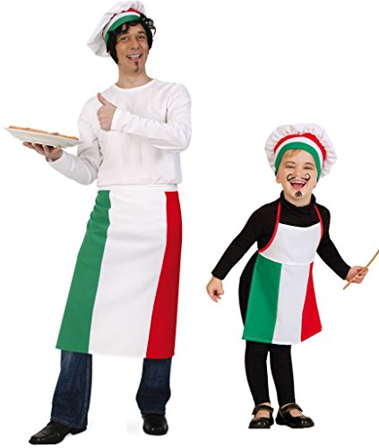 Kinderkostüm Pizzabäcker (Schürze + Mütze) Karneval, Fasching, Mottoparty (Erwachsene)