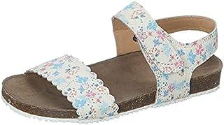 Skippy Velcro Closure Open Toe Sandals for Girls - Beige, 35 EU
