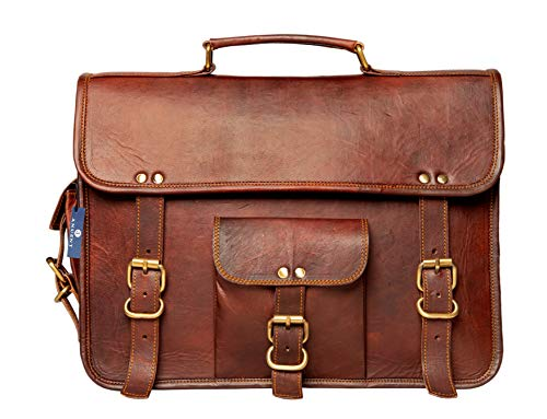 ANUENT Leather Bags Vintage Soft Leather Messenger Brown Real Laptop Satchel Bag Genuine Briefcase (15 INCHES)