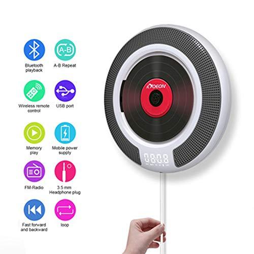 Reproductor CD,Reproductor de música y películas Bluetooth, Altavoces de Alta fidelidad, Radio FM USB MP3,Conector para Auriculares de 3.5 mm,Regalos para el hogar