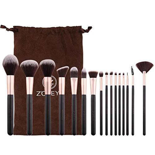 Beauté Jeu De Pinceaux De Maquillage, Kit De 16 Pcs Multifonctionnel pour Fard À Paupières Blush Foundation Shadow Ensemble Complet d'outils