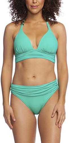 La Blanca Women s Island Goddess Shirred Banded V Neck Halter Bikini Top Sea Green 4 product image