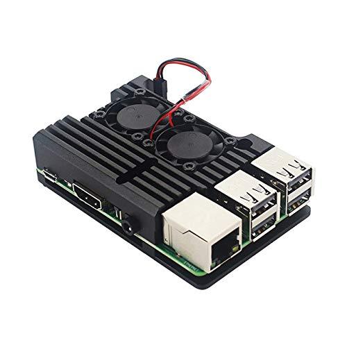 Aoile voor Raspberry Pi 4 aluminium metalen kast doos met dubbele ventilator warmte wastafel, With fan