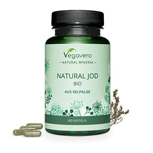 BIO Yodo Natural Vegavero® | 150 mcg=100% CDR | Sin Aditivos Artificiales | Procedente de Algas Marinas | Tiroides + Drenaje + Metabolismo* | 180 Cápsulas | Hipotiroidismo | Thyroid Energy