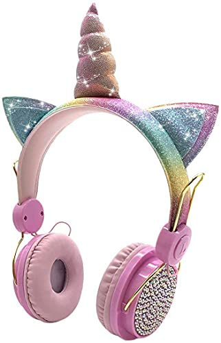Samvardhan Wireless Bluetooth Headphones with Microphone for School,Giant Unicorn Gifts for Girls Children Birthday, On Over Ear Wired Headset with HD Sound/Kindle/Tablet (Pink)