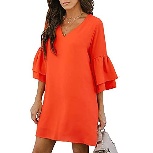 Liably Vestido de verano para mujer, estampado de moda, manga corta, cuello en V, estilo Y2K, elegante, floral, vestido de baile, vestido vintage naranja L