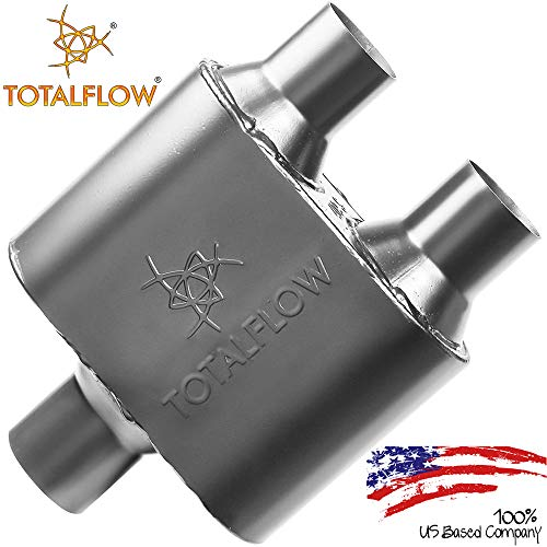 """TOTALFLOW Black 2.5"""" Offset In / 2.5"""" Offset Out 442518 409 Stainless Steel Single Chamber Universal Muffler 2.5"""" Offset Out"""