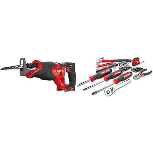 CRAFTSMAN V20 Reciprocating Saw, Cordless, Tool Only with Mechanics Tools Kit/Socket Set, 57-Piece (CMCS300B & CMMT99446)