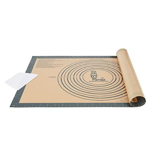 Extra Dick Rutschfeste Backunterlage Antihafte Backmatte Silikon Groß 60 x 40cm Teigunterlage Ausrollmatte XL Silikonmatte Dauerbackfolie Teigmatte mit Messung, Teigschneider für Fondant Pizza Matte