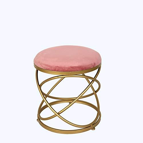 HXiaDyG Silla de la Vanidad Tela de Maquillaje de Tejido Creativo Simple Taburete Taburete Redondo Dormitorio Sala de Estar Taburete Sillones (Color : Pink, Size : 45x40x40cm)