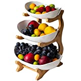 Poetance Frutero con 3 pisos para frutas cerámica Con soporte de madera Para postres de frutas y snacks (blanco)