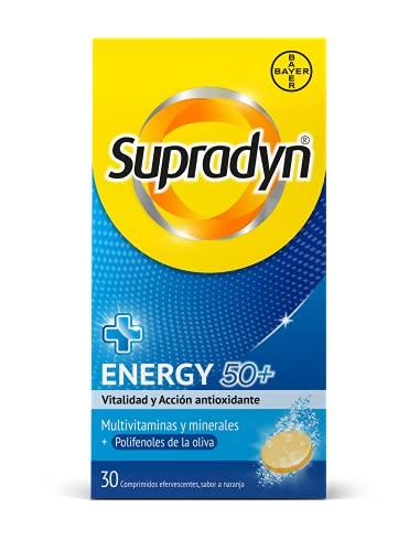 Supradyn ENERGY 50+ Multivitaminas, Minerales y Polifenoles de la Oliva, 30 Comprimidos Efervescentes, Vitalidad y Acción Antioxidante, Sabor Naranja