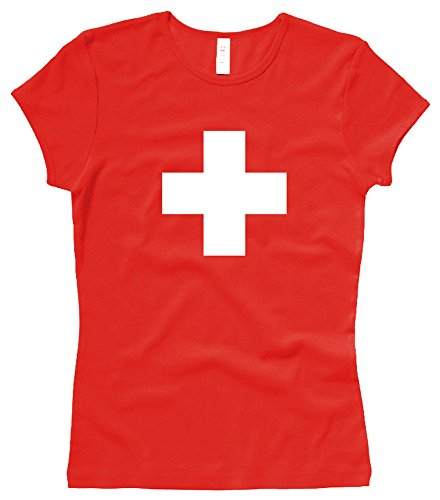 Russell Athletic Suisse Croix Suisse Swiss Cross – T-Shirt pour Femme/Woman – Taille XL