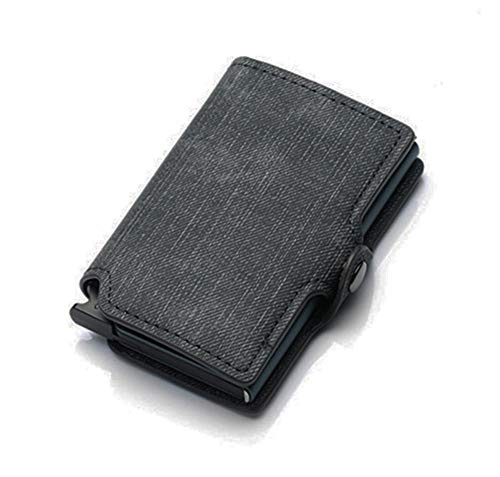 USNASLM Tarjeta de crédito de negocios titular de los hombres multifunción automático de aleación de aluminio de cuero caso de la tarjeta de visita Cartera monedero ultrafino
