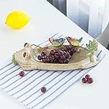 WANZSC bandeja de frutas para oficina decoración del hogar boda estilo rústico olla de carne de rana comedero de pájaros artesanal de cerámica para hacer (beige)