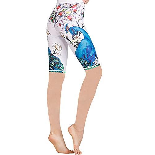 ArcherWlh Yoga Pants Womens,Impreso Alto Cintura Hip Yoga Cinco Pantalones Femenino Ejercicio Ejercicio Ejecutar Entrenamiento Danza Hip Fitness Shorts-Lenguaje Floral de Pavo Real_S