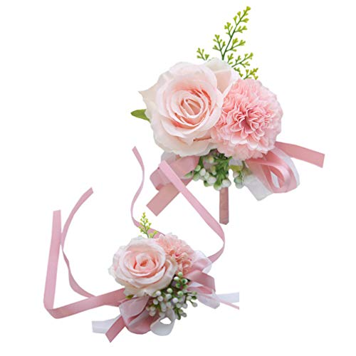 NUOBESTY Corpiño de muñeca Rosa y Boutonniere Set Boutonniere de Flores de Seda Rosa para el Descanso Novia decoración de Bodas Rosa 1 Set