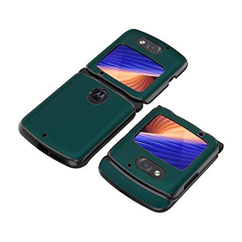 PUROOM Schutzhülle für Motorola Razr 5G, luxuriös, Carbonfaser, Leder, Hybrid-Hülle, vollständiger Schutz, stoßfest, für Motorola Razr 5G 2020 Version (grün)