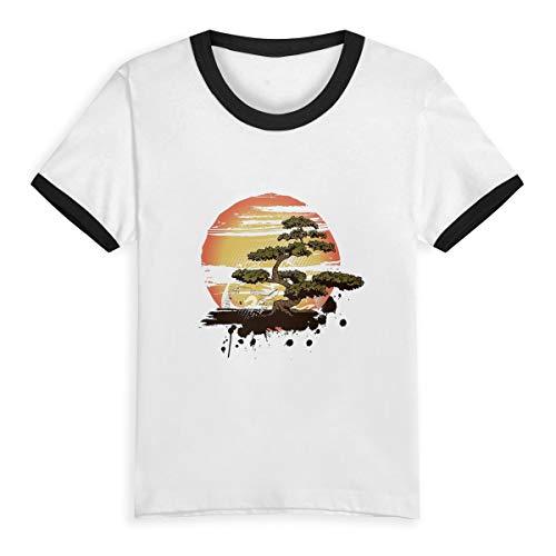 Bonsai Tree Karate Dojo Little Girls' Short Sleeve Tee Kids Short T Shirts 4T Black