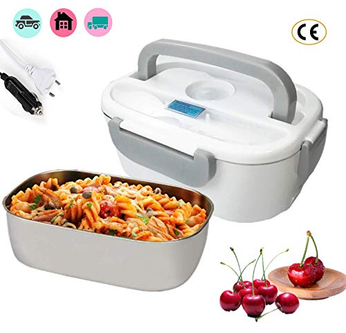 Nifogo 2 en 1 pour la Voiture et Bureau Lunch Box Électrique - Gamelle Chauffante Acier Inoxidable 12v et 220v - Boîte à Repas 40w avec Cuillère et Deux Compartiments (Gris)